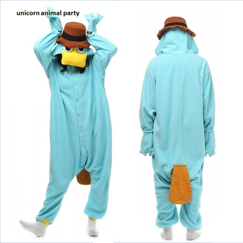 Kigurumi Unisex Perry latypus Costume Onesies Monstru Cosplay Pijamale Adulți Petrecere Femelă Bărbați Pijamale Animal Sleepwear Salopetă