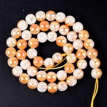 Natural Stone Plated Half Champagne Gold Snow Cracked Crystal Beads For Jewelry Making 6 8 10 12mm Round Diy Bracelet 15