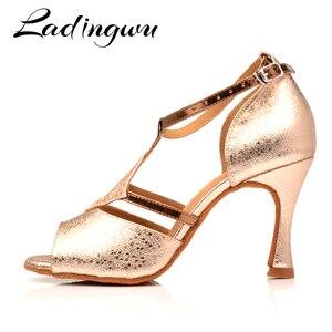 Ladingwu Обувь для бальных танцев для женщин; обувь для латинских танцев для девочек; женская обувь для сальсы; цвет Шампань, золотистый; текстур...
