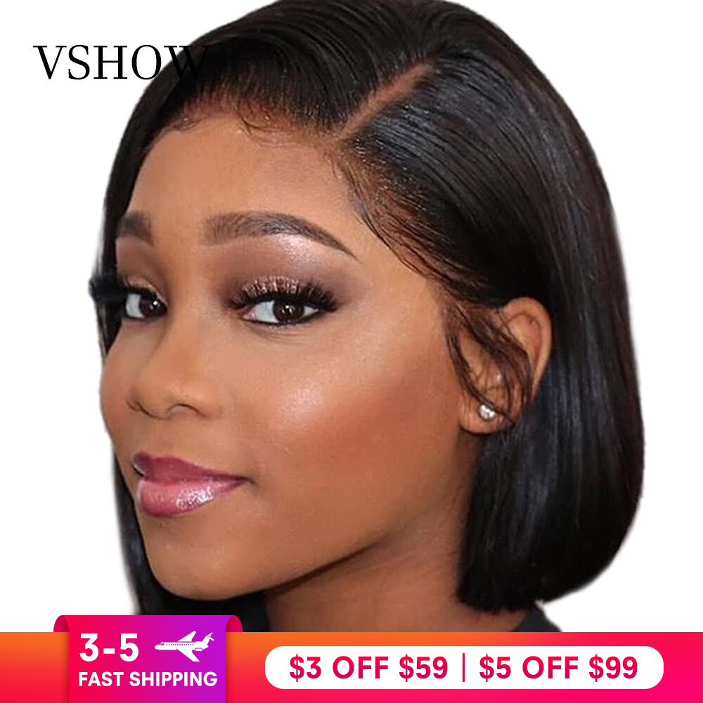 VSHOW 13x4 Straight Short Lace Front Wigs Natural Color 130% 150% 180% Density Brazilian Remy Human Hair Bob Wigs