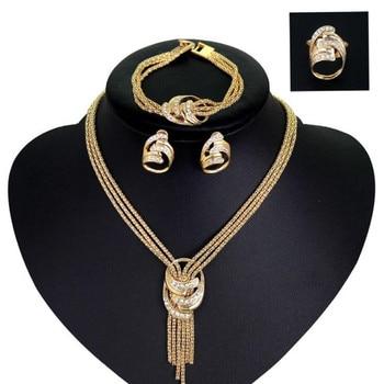 4pcs Jewelry Set For Women African Beads Jewelry Set Wedding Twist Choker Necklace Bridal Dubai Gold Color Jewellery Sets