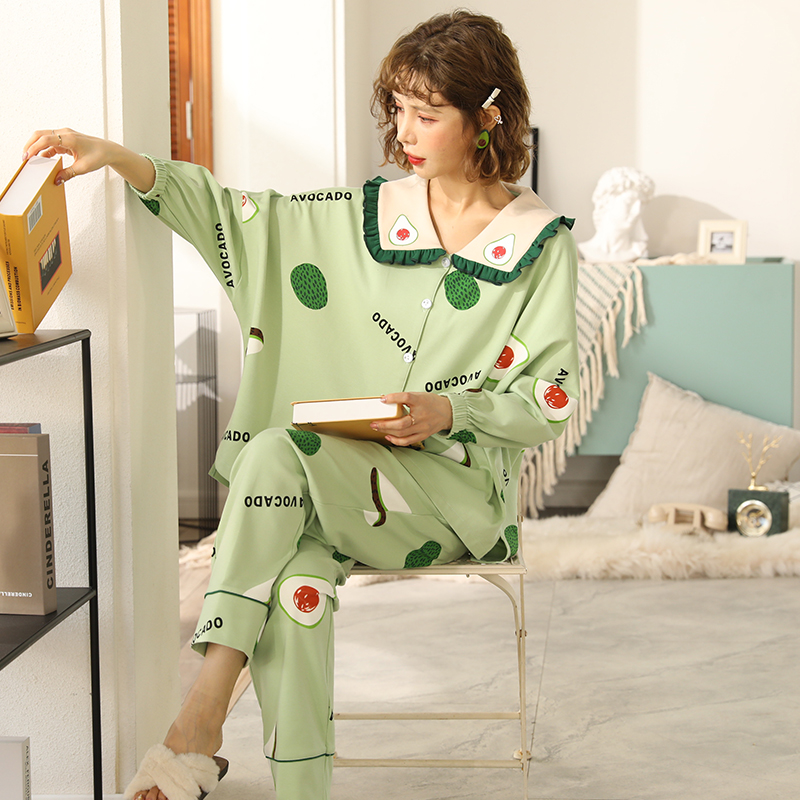 New WAVMIT 2020 Sweet Women's Cotton Long Sleeve Pajamas Set Loose Leisure Women Sleepwear Set Party Pajamas Young Girl Outwear