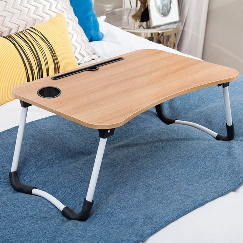 Foldable Laptop Table Portable Dormitory Bed Tray Table Breakfast Serving Bed Tray With Tablet Slots & Cup Holder