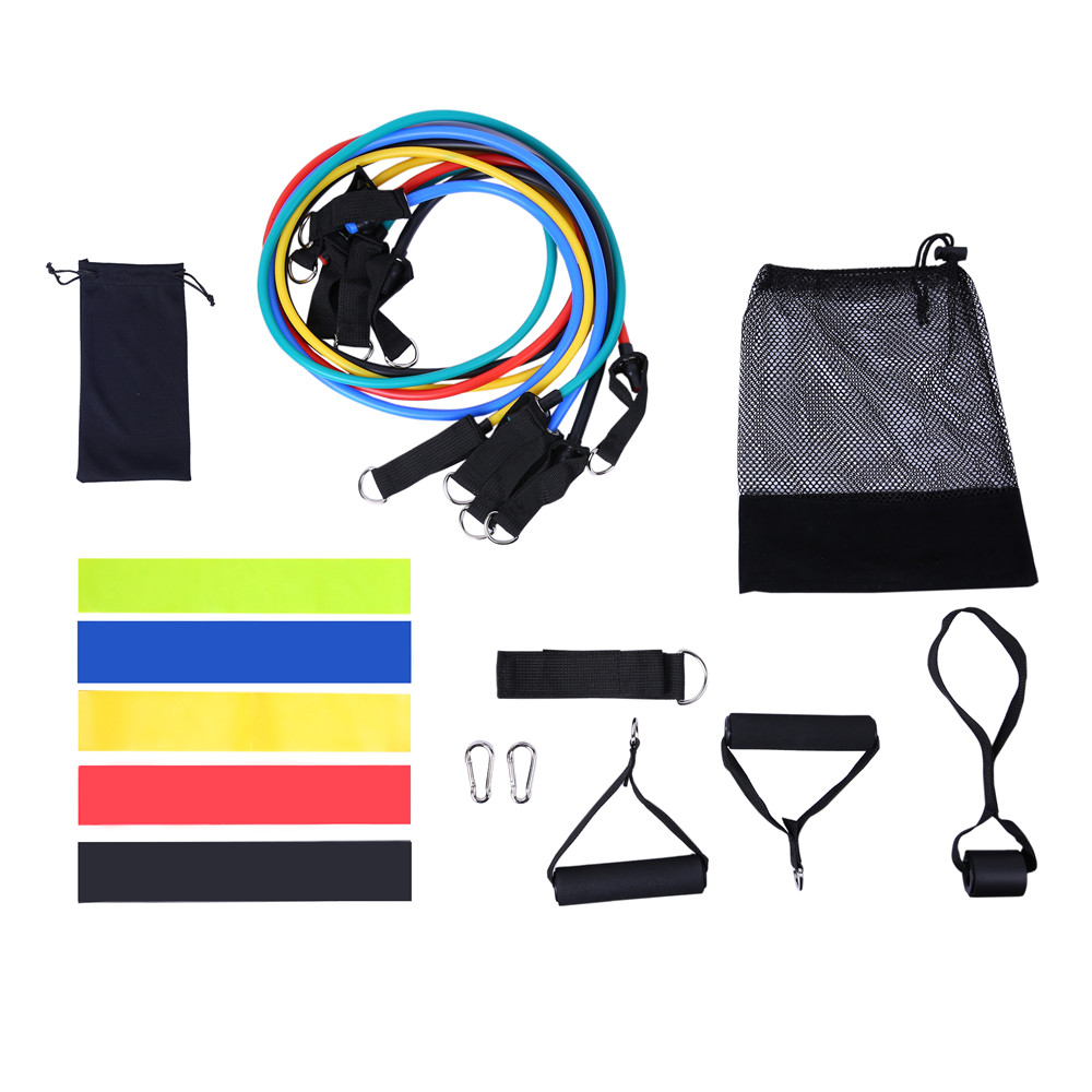 11Pcs/Set Latex Resistance Bands Gym Door Rubber Loop Tube Bands Anchor Ankle Straps With Bag Kit Set Yoga Exercise Fitness Band(China)