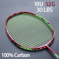 Full Carbon Fiber Lightest 10U 52g Badminton Racket Strung Max Tension 30LBS Professional Rackets With Bags Strings Racquet
