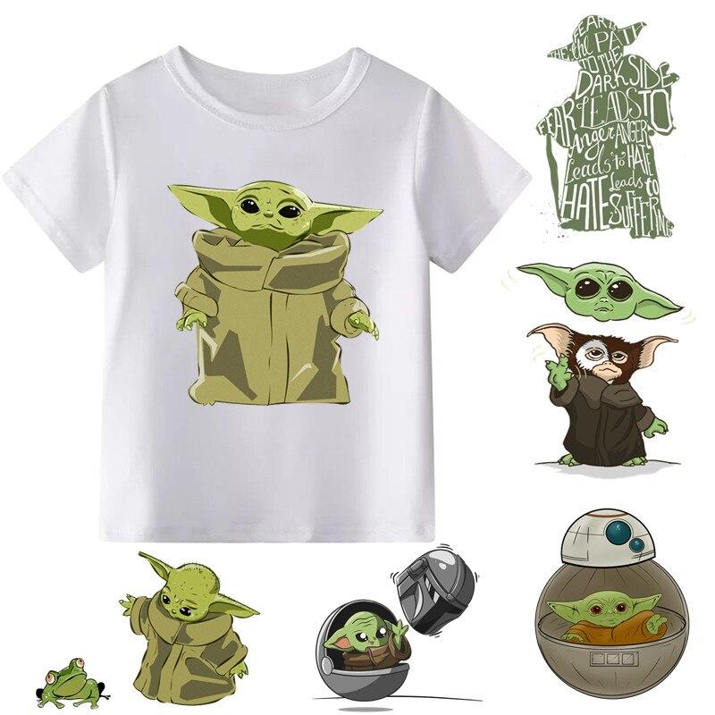 2019 Children STAR WARS Baby Yoda Print Cartoon T-shirt Boys Girls Funny Short Sleeve T Shirt Kids Clothes