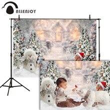 Allenjoy 크리스마스 배경 눈송이 새해 가족 파티 장식 반짝이 조명 겨울 사진 스튜디오 배경 Photophone