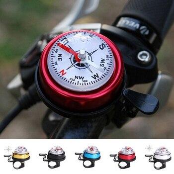 1 Uds. De aleación de aluminio de metal bicicleta manillar timbre con brújula deporte de ciclismo accesorios de bicicleta 5 colores