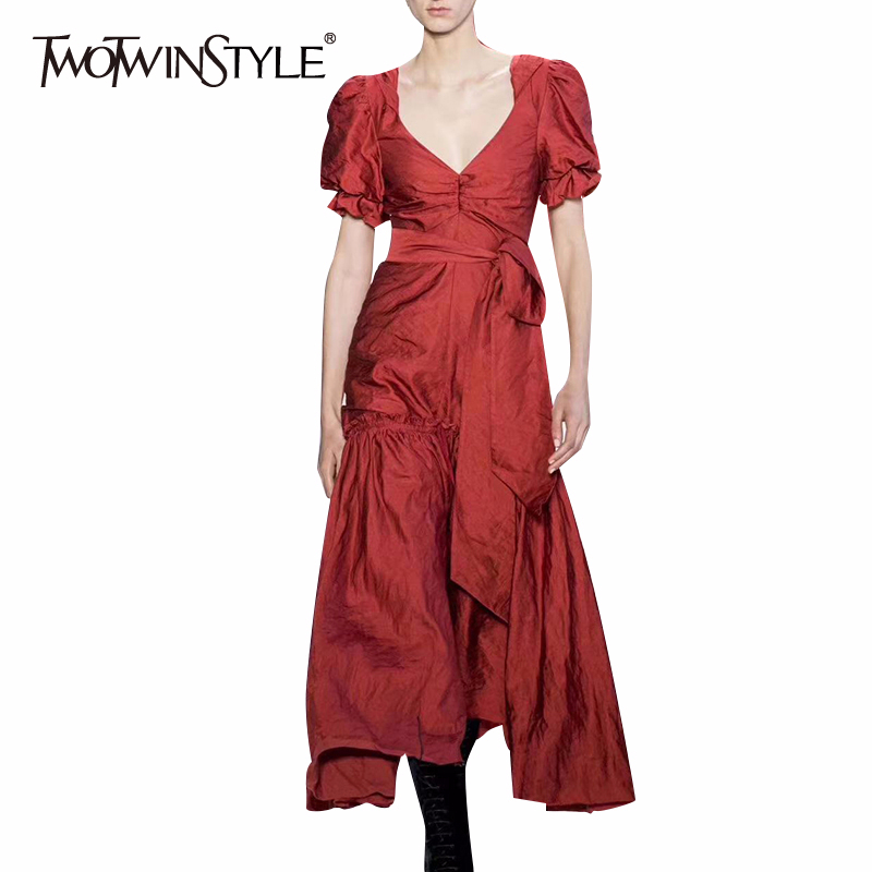 TWOTWINSTYLE Puff Sleeve Dresses V Neck Short Sleeve High Waist Lace Up Slim Midi Dress Female Fashion 2020 Spring New