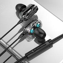 Movimentação dupla 6d estéreo com fio fone de ouvido in-ear fone de ouvido fones de ouvido graves para iphone samsung 3.5mm esporte jogos fone de ouvido com microfone