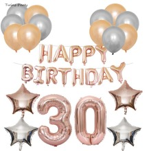 Twins Party 40Inch Number ose Gold 30th Foil Balloon Happy Birthday Banner Latex Balloons 30 Year Decorations
