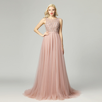Elegant Bling Bling Evening Dresses Long Beaded Sequined O neck Tulle Backless Zipper With Train Prom Party Gown CC5465