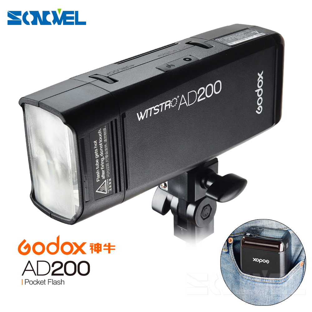 Godox AD200 TTL 2.4G HSS 1//8000s Pocket Flash Light Double Head 200Ws with 2900mAh Lithium Battery+Godox BD-07 Dedicated Barn Door with Honeycomb Grid and 4 Color Gel Filter