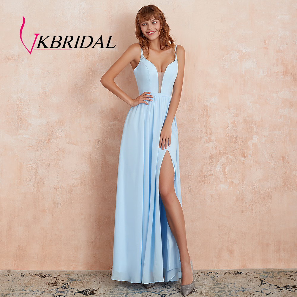 VKbridal High Slit Chiffon Bridesmaid Dresses Deep V-Neck A-line Wedding Guest Formal Wear Lace Up Bridal Wedding Party Dresses