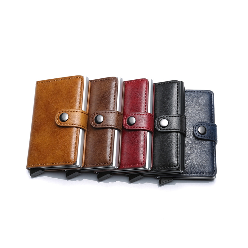 Automatic Credit Card Purse Men Aluminum Wallet Back Pocket ID Cardholder  RFID Blocking Wallet Retro Coin Purse Card PouchZi