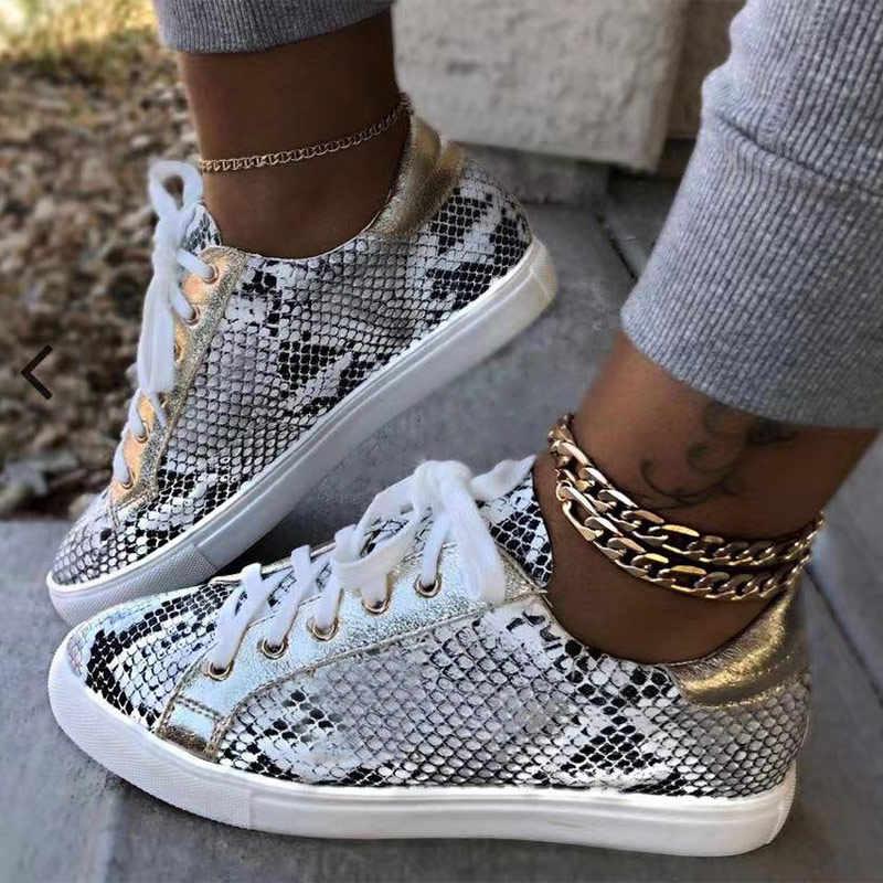 ฤดูใบไม้ร่วงรองเท้าสบายๆแพลตฟอร์มงู PU Vulcanized Lace Up รองเท้าผ้าใบหญิงรองเท้าแฟชั่นสุภาพสตรีรองเท้า