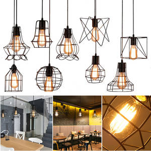 Chandelier Pendant-Lamp Lampshade Iron-Cage Hanging E27 Retro Modern Indoor Adjustable