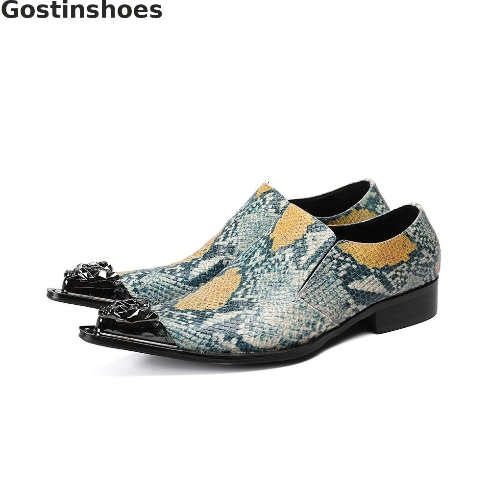 Men Shoes Green Genuine Leather Snakeskin Printed Men Caual Leather Shoes Slip-on Metal Capped Tip-toe Loafers