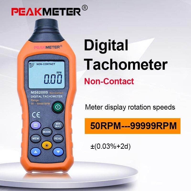 Medidor de Velocidade Peakmeter Digital Não-contato Tacômetro Rpm Revolução Medidor Pm6208b