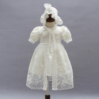 New Lace Baby Girl Dress Wedding Outfit With Shawl + Hat for Toddler Girls Infant 1 Year Birthday Party Baptism Christening Gown