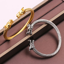 Double Dragon Head Open Bracelet Vintage Mythical Animals Pure Color Elastic Adjustable Bracelet Unisex Jewelry Accessories(China)