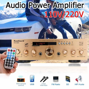 1200W Amplifier HIFI Audio Stereo DC bluetooth MP3/FM Radio Audio Power Amplifier USB SD 2* Mic input for Car Home Truck KTV