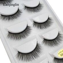 new 5 pairs false eyelashes natural fake 3D mink lashes soft corss long eyelash extension handmade makeup black G805