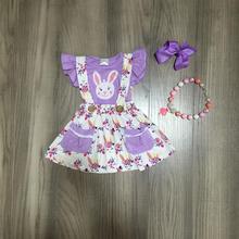Ilkbahar/yaz paskalya kıyafet lavanta bunny kollu üst çiçek etek bebek çocuk giyim butik giyim maç aksesuarları diz boyu