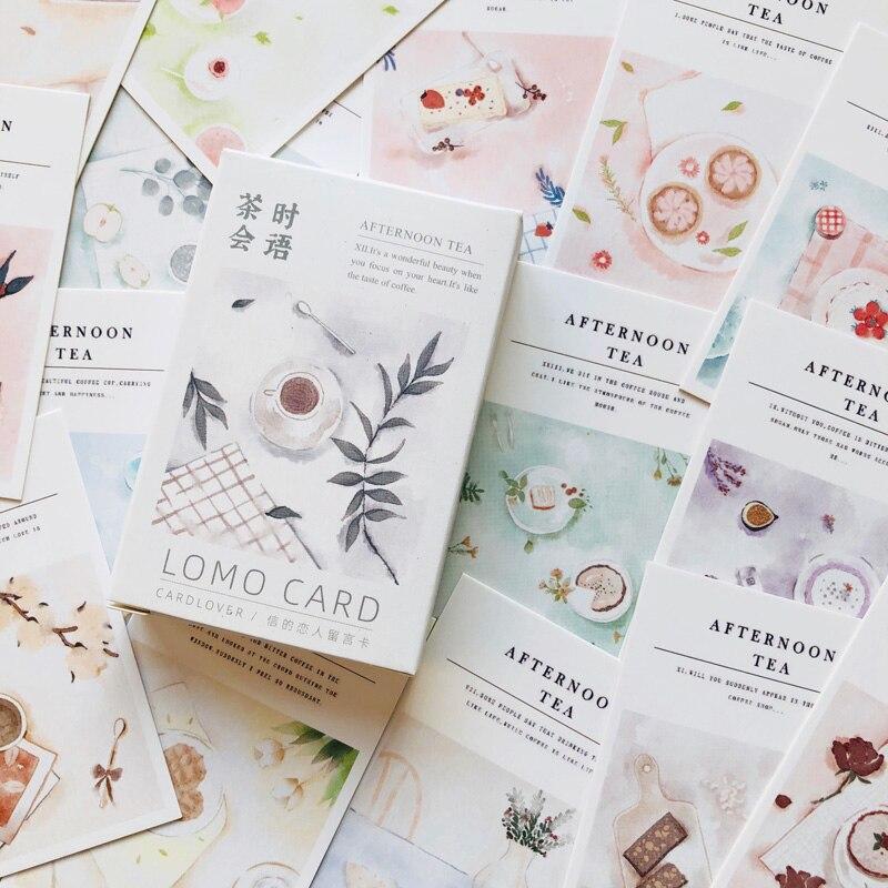 28pcs /Box Elegant Afternoon Tea Lomo Card DIY Postcard Post Greeting Card Picture Decor Message Cards