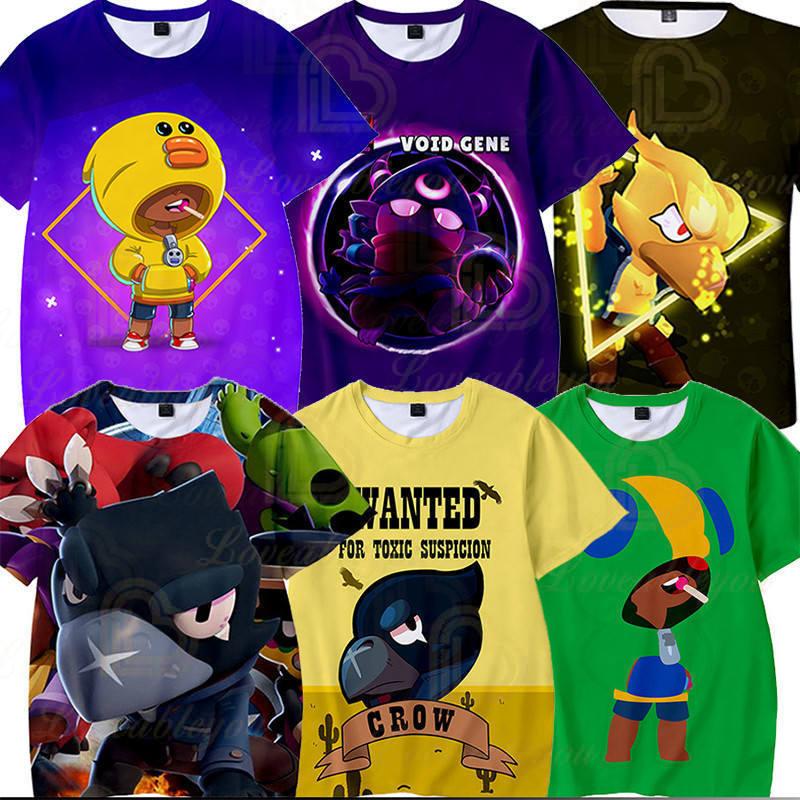 Shooter Boys Girls 3D PRIMO MORTIS Short T-shirt Crow Spike Leon Shelly Brawling Tshirt Kids Game Star Shirt Tops Birthday Gift