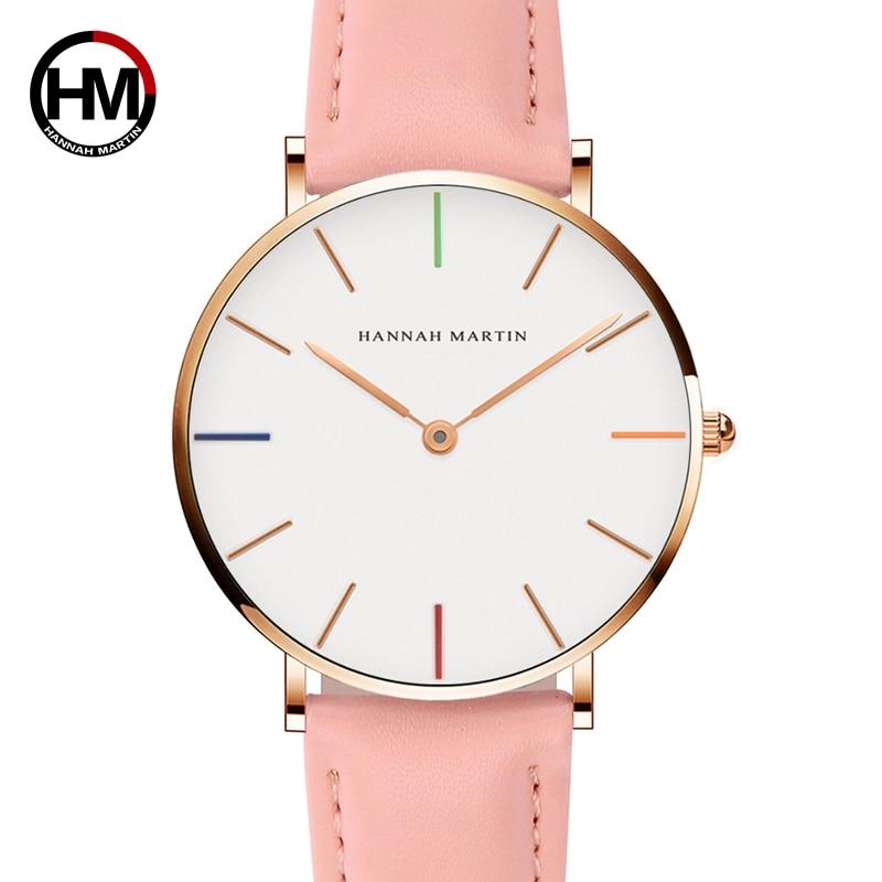 Japan Quartz Movement Ladies Watch Fashion Casual Women Top Brand Pink Genuine Leather Strap Simple Waterproof Wristwatch 36mm
