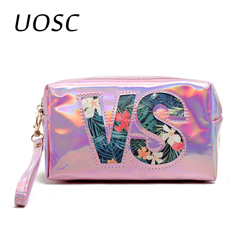UOSC 2019 Fashion Waterproof Laser Cosmetic Bags Women Neceser Letter Make Up Bag Pouch Wash Toiletry Bag Travel Organizer Case