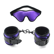 Sexy Black leather handcuffs with Blindfold eye mask BDSM Bondage Exotic Sets Sex Toys for Couples Adult Games Women