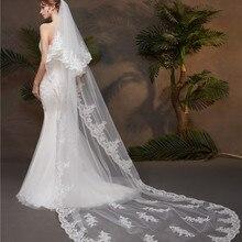 Layer 2 Lace Edge 3M Cathedral Wedding Veil with Comb for Bride Bridal Veils Accessories Vail velos de novia
