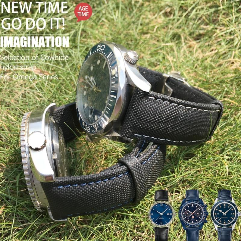 Ремешок из нейлона и кожи для наручных часов, модный спортивный браслет для часов Submariner Omega Tudor Seiko, 19/20/21/22/23 мм|Ремешки для часов|   | АлиЭкспресс