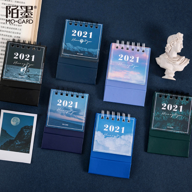 2021 Sun Moon Star Series mini Desktop Paper landscape Calendar dual Daily Scheduler Table Planner Yearly Agenda Organizer 2