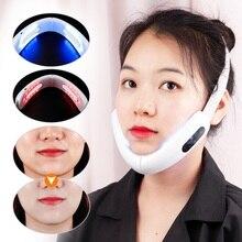 Chin máquina de cinturón de elevación en V Dispositivo de adelgazamiento Facial, masajeador galvánico, terapia de fotones LED, color rojo y azul