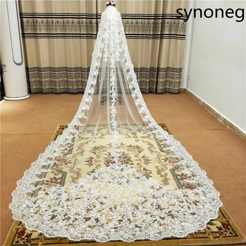 New Sparkling Beads Cathedral Bride Veil Lace Edge 1 Layer With Metal Comb Custom 5 Meters Long Wedding
