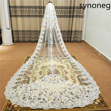 New sparkling beads Cathedral bride veil lace edge 1 layer with metal comb custom 5 meters long wedding(China)