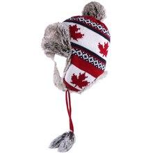 Bomber Hat Women Winter Wool Knitted Snow Hats Pom Pom Maple Leaf Trapper Aviator Cap Fox Fur Earflaps Fleece Russian Ushanka