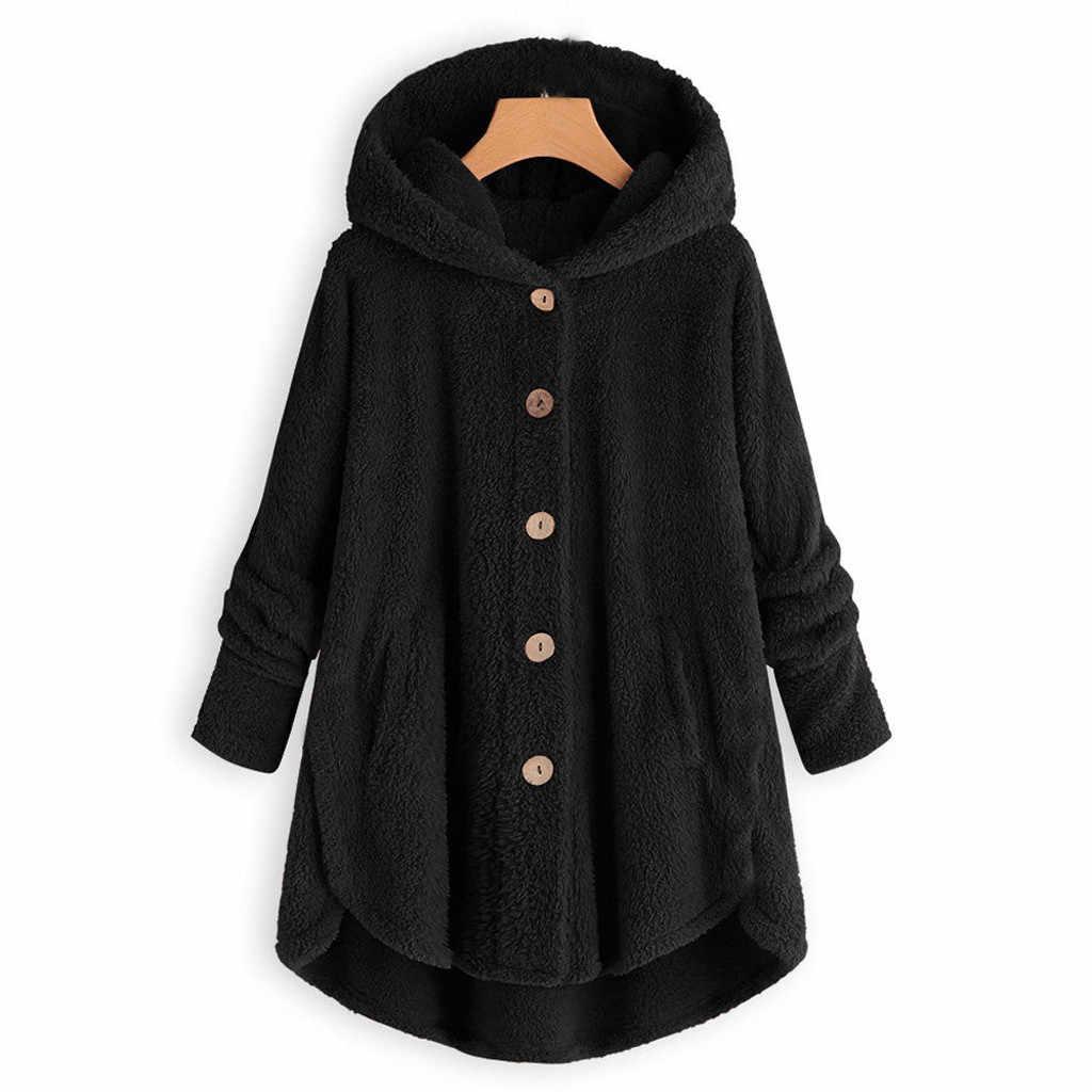 여성 플러시 코트 플러스 사이즈 버튼 플러시 탑스 후드 루스 카디건 울 코트 겨울 따뜻한 자켓 유지