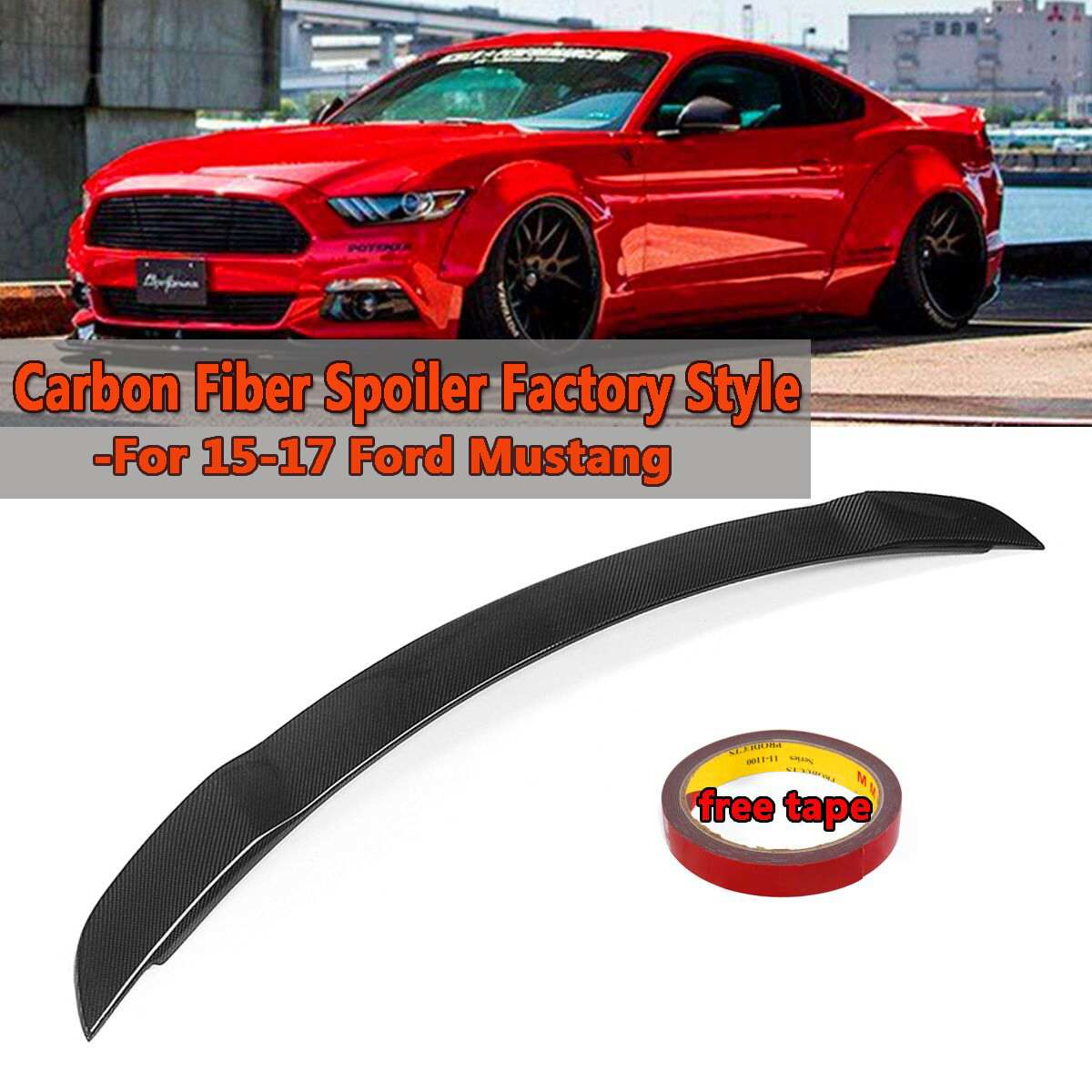 For Ford Mustang 2015-2018 Carbon Fiber Factory Rear Boot Trunk Wing Lip Spoiler