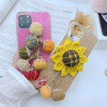 sunflower pumpkin glitter shiny mobile phone case cover for iphone 11 pro max 6 6s 7 8 plus x xr xs max(China)