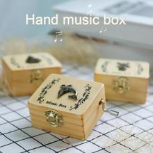 Music Box Wooden Hand Crank Carved Children Gifts Durable Creative Engraved Antique  DAG-ship