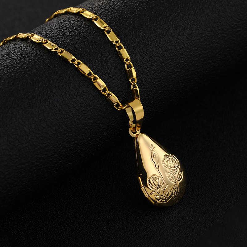 SONYA wisiorek kwiat róży kropla wody medalion naszyjniki prezent urodzinowy dla siebie/przyjaciela/matki/ojca prezent biżuteria naszyjnik
