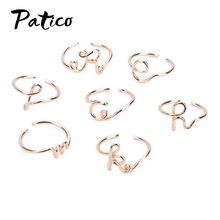 New Fashion 925 Sterling Silver Rings For Women Valentines Day Gift Party Adjustable Gold 26 Letter Simple Daily Jewelry