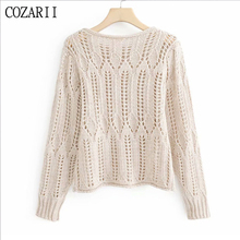 Vintage Stylish Hollow Out Short Style Knitted Sweater Women O Neck Long Sleeve Stretchy Pullovers Chic Pull Femme