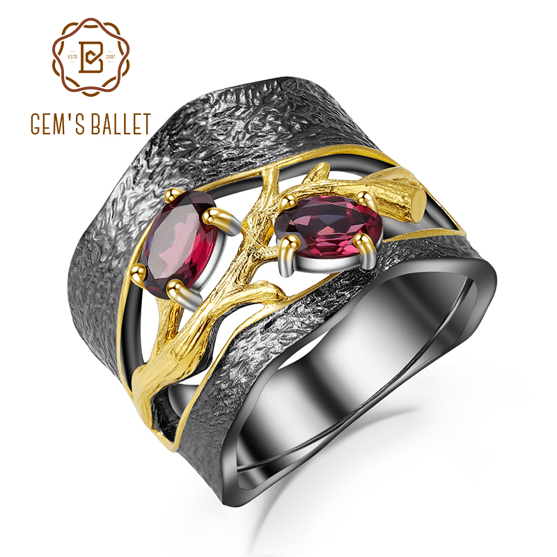 GEM'S BALLET 925 Sterling Silver Original Handmade Branch Rings Natural Rhodolite Garnet Gemstones Ring For Women Fine Jewelry