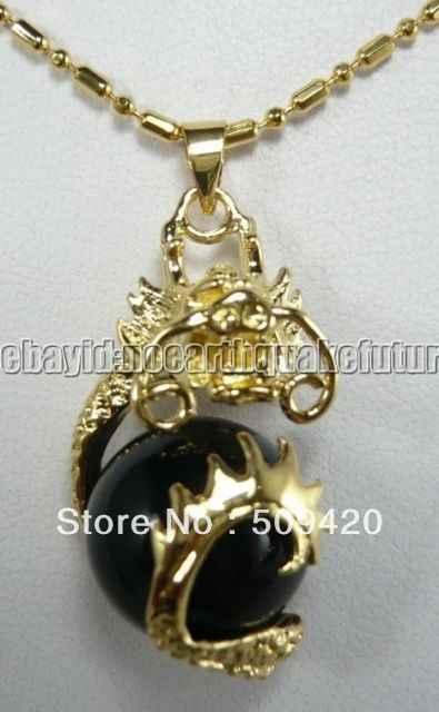 DYY livraison gratuite en gros>>> 5 pièces 18K or jaune plaque noir Jade Dragon pendentif collier chaîne gratuite