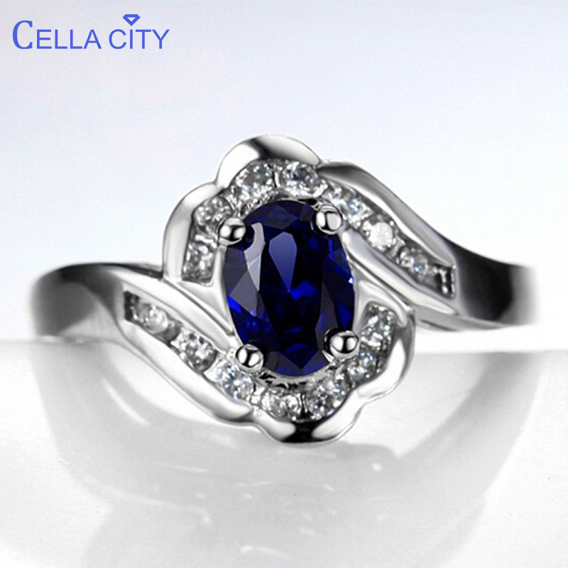 Cellacity Geometry Blue Ring For Women Silver 925 Jewelry With Gemstones Oval Sapphire New Design Female Trendy Party Rings Gift